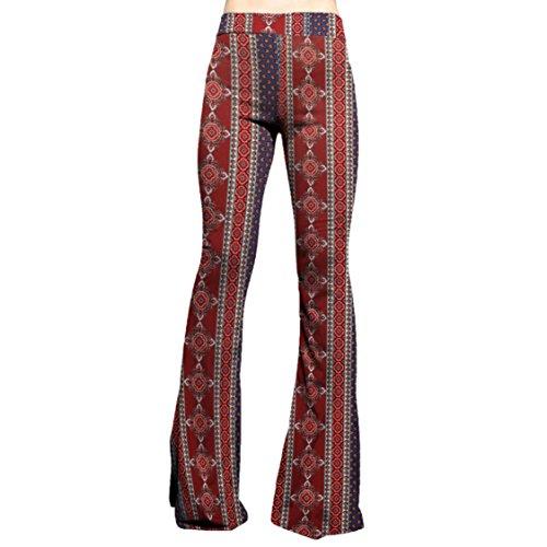 Womens 70s Clothing - SMT Women's High Waist Wide Leg Long Bell Bottom Yoga Pants Small Boho Mix Indigo