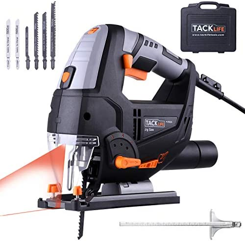 TACKLIFE Advanced 6.7 Amp 3000 SPM Jigsaw with Laser LED, Variable Speed, Carrying Case, 6 Blades, Adjustable Aluminum Base, Pure Copper Motor, 10 Feet Cord – PJS02A