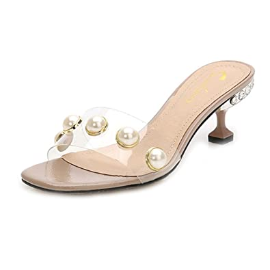 cfb2b9c4fd71 GIY Women s Fashion Clear Stilettos Low Heel Pearl Slide Sandals Open Toe  Platform Mules Dress Pump
