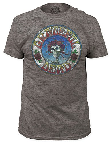 Impact Men's Grateful Dead Distressed Skull and Roses Tri-Blend T-Shirt