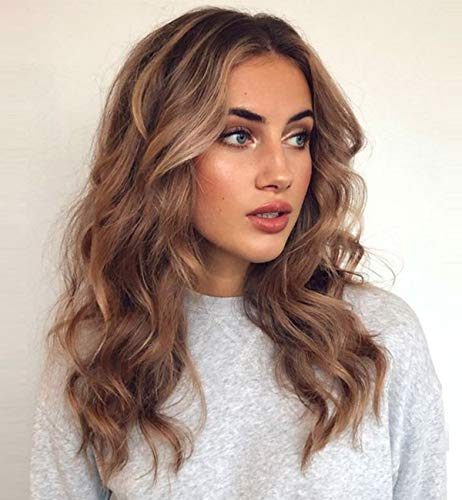 (Vedar 2019 Original Design - Realistic Looking Daily Wigs Wave Brown Lace Front Wigs for Women Dark Rooted Brown Wigs Mixed Blonde Lace Wigs 18 inch)