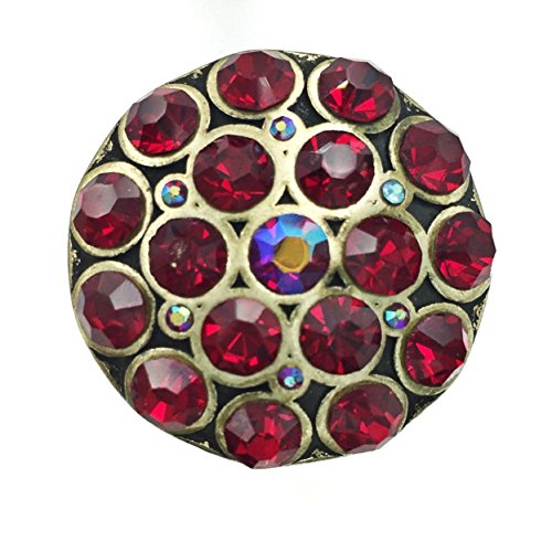 Large Round Rhinestone Statement Big Stretch Cocktail Ring (Dark Red Burnished Gold Tone)