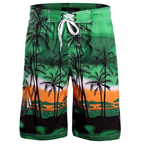 Price comparison product image APTRO Men's Board Shorts Palm Tree Patterned Swim Trunks Green 1701 3XL