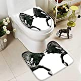 SOCOMIMI 2 Piece Shower Mat Set Twin Contrast Horse Heads Statue Image Vintage Style Art Antigue War Theme Print Pattern Rug Set