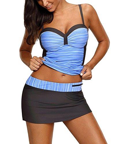 (Aranmei Women Tankini Swimwear Push Up Printed Two Piece Swimsuit S-XXL(Blue,X-Large))