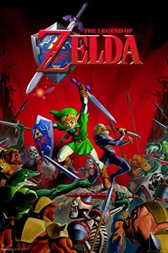 Pyramid America Laminated Zelda Hyrule Battle Sign Poster 12x18 inch (Legend Of Zelda Ocarina Of Time 3ds Price)
