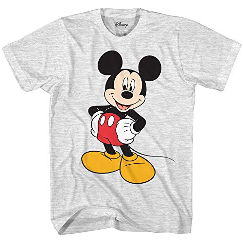 Disney Men's Classic Mickey Mouse Wash T-Shirt (Ash Heather,Large)
