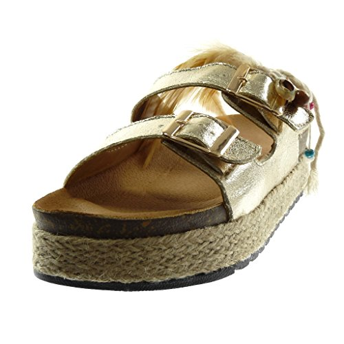 Angkorly Women's Fashion Shoes Sandals Mules - Slip-on - Platform - Folk - Shiny - Feather - Cord Wedge Platform 4 cm Gold