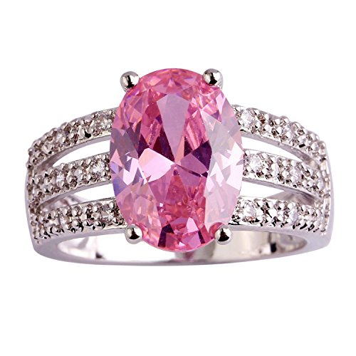 [GemMart Jewelry EndeaRing Pretty Oval Cut Pink Topaz Silver Ring Size 8 New Fashion Jewelry] (Pretty In Pink Costumes)