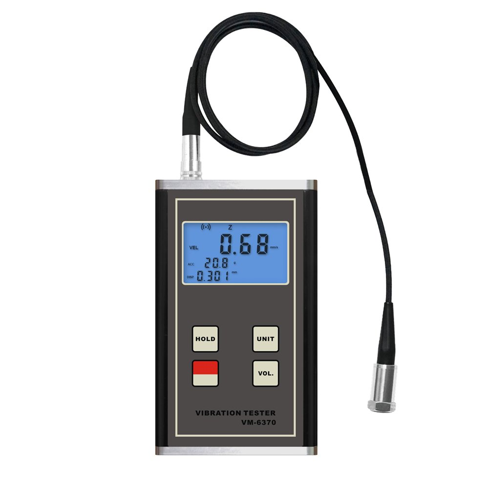 VM-6370 Vibration Meter Tester Digital Vibrometer Displacement Velocity Acceleration Gauge for Moving Machinery