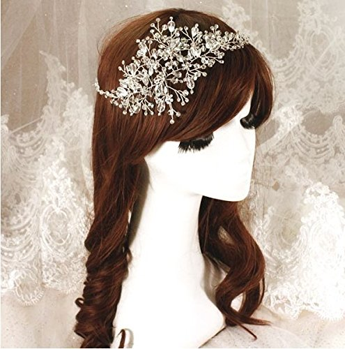 Wedding Headdress Luxury Crystal Bridal Bridesmaid Wedding Tiara Pearl Hair Bands Fascinator Beautiful Vintage Flower Eveing ​​Party Headdress