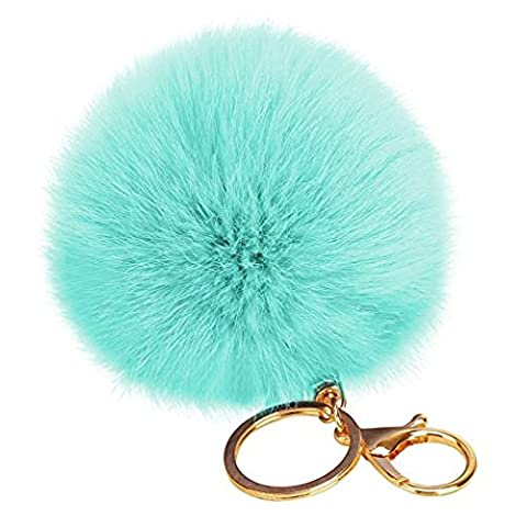 Buy 1 Get 1 Rabbit Fur Ball Pom Pom Key Chain Gold Plated Keychain with Plush for Car Key Ring or Handbag Bag Decoration US Seller !! - Dark Sky Chain