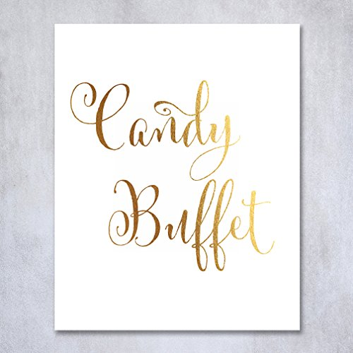 Candy Buffet Gold Foil Print Candy Bar Sign Wedding Reception Signage Dessert Station Poster Decor Calligraphy Bride Groom