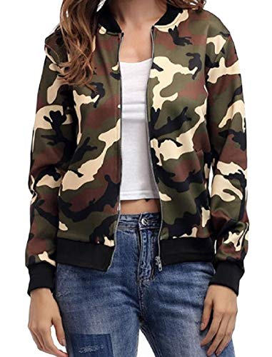 Fashion Leisure Camo Zip Jacket Collar Stand Pocketed Outwear Pattern2 EnergyWomen x5Eq1Ywx