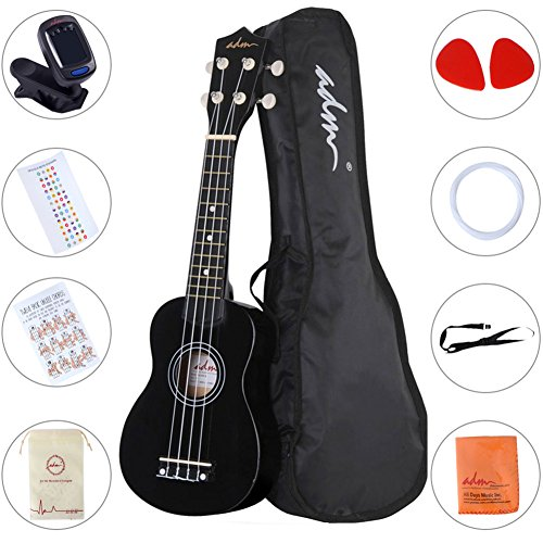 (ADM Beginner Ukulele 21 Inch Soprano Kids Starter Pack Bundle with Gig bag Tuner Fingerboard Sticker Chord Card, Black)