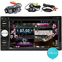 EinCar Android 5.1 Double Din In Dash Vehicle GPS Car Radio Audio System 6.2 Inch Touch Screen Car Stereo DVD CD Player with Bluetooth WiFi Navigation System & Wireless Rear Camera