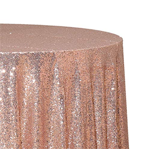Poise3EHome 50-Inch Round Sequin Tablecloth for Party Cake Dessert Table Exhibition Events, Rose Gold