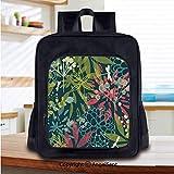 Print School Backpacks for Girls Kids Petrol Green Backdrop Abstract Flowers Dragonflies Buds