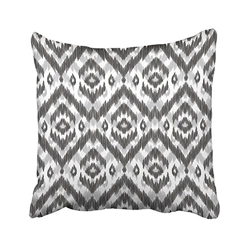 Emvency Throw Pillow Covers Decorative Cases White Ikat with Large Gray for Summer Design and Modern Chevron Abstract Aztec 16x16 Inch Cover Cushion Pillowcase Square Case Print