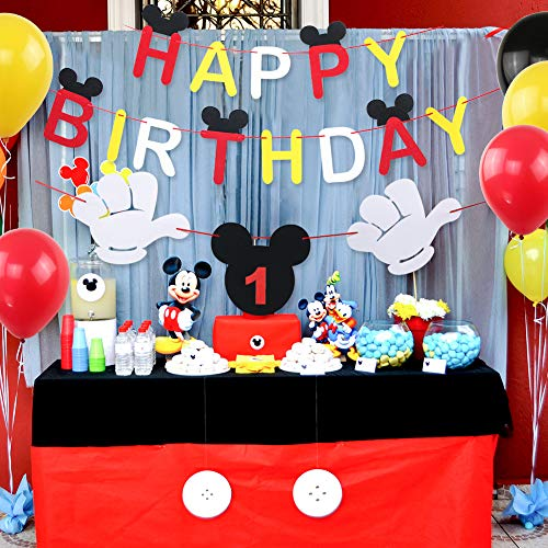 Mickey Mouse Happy Birthday Banner Decorations Kit, Mickey Mouse Banner Tie  Hat for Baby Birthday Party Mickey Mouse Theme Party Supplies