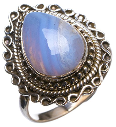 Natural Blue Lace Agate Handmade Unique 925 Sterling Silver Ring, US Size 7.75 X2379
