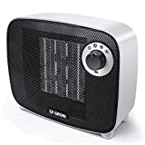 Mini TPC Ceramic Space Heater 1500 Watt, CF GROW Indoor Portable Electric Small Space Heater and Quiet Fan for Home Room Office Use, Auto Shut Off With Over-Heat & Tilt Protection, UL Listed (White)