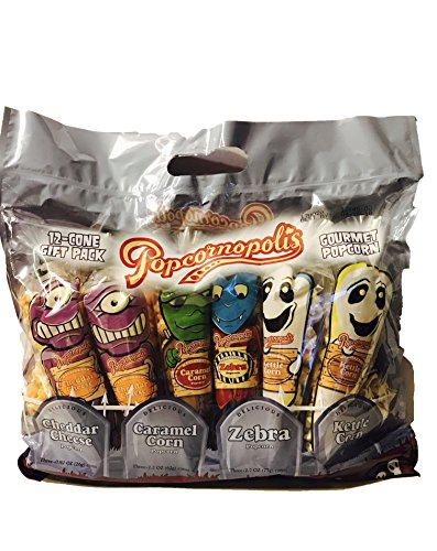 Popcornopolis Halloween Gluten Free 12 Cone Snack Gift Pack (3 Snack-Size Mini Cones of Each Delicious Flavor)