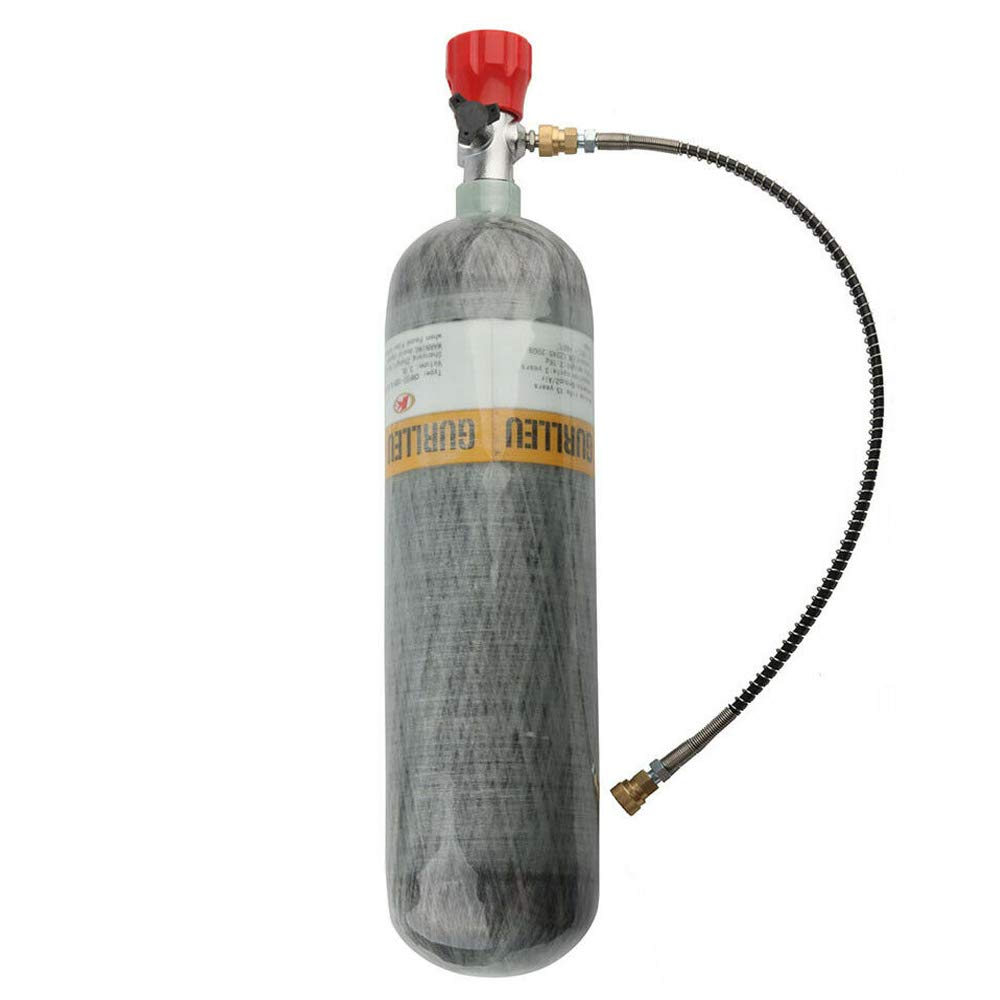 IORMAN 3L Carbon Fiber Air Tank & Fill Station CE Certified 4500psi High Pressure for PCP Paintball Scuba SCBA(Empty Bottle) (Red Valve Kit) by IORMAN