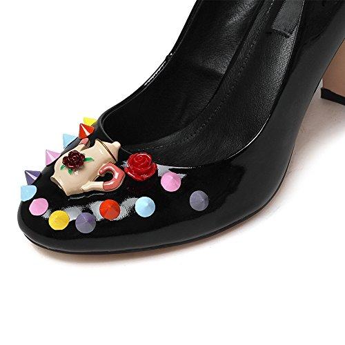 Nine Seven Cuero Moda Puntera Redonda Zapatos de Tacón Grueso con Flores para Mujer negro
