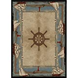 5'3x7'3 Blue Beige Nautical Sailboat Area Rug Rectangle, Indoor/Outdoor Ocean Sail Boats Carpet For Patio Coastal Floor Mat Lighthouse Sea Helm Cottage Lake House Marine Life Vacation, Polypropylene
