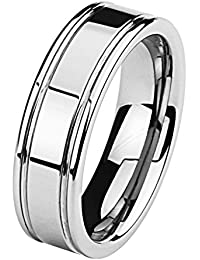 7MM Wellingsale® LUXE Series Cobalt Free, Comfort Fit Flat Tungsten Wedding Band Ring with Grooved Lines and Smooth Rounded Edges in Brushed and Polished Finish for Men and Women (Multiple Sizes Available)