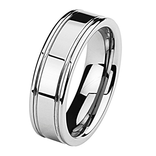 7MM Wellingsale LUXE Series Cobalt Free, Comfort Fit Flat Tungsten Wedding Band Ring with Grooved Lines and Smooth Rounded Edges in Brushed and Polished Finish for Men and Women - Size 8.5 (Flat Grooved Wedding Ring)