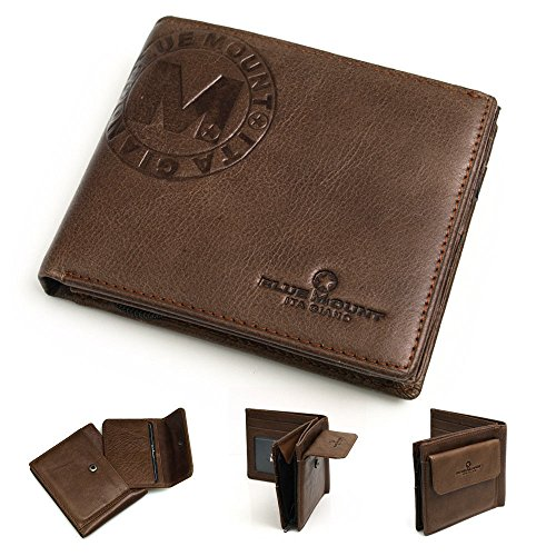 New Genuine Brown Men's Leather Wallet Purse Mini Card Coin Pocket Purse MJ2112