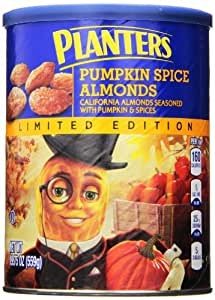 Planters Limited Edition Almonds Canister, Pumpkin Spice, 19.75 Ounce