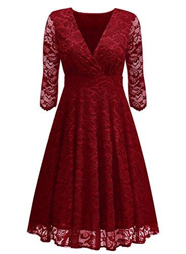 Arolina Women's Surplice V-Neck Retro Floral Lace Evening Dresses (XX-Large, (Evening Mother Of The Bride Dresses)
