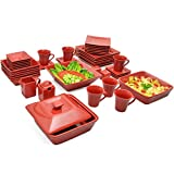 10 Strawberry Street Square 45 Piece Dinnerware Set, Red For Sale