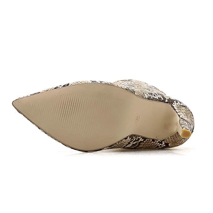 ❤ Botas de Piel de Serpiente Mujer tacón Alto, Bombas de Mujer Patrón de Piel de Serpiente Punta Estrecha Cremallera Fina Tacones Altos Zapatos Botas ...