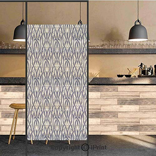 3D Decorative Privacy Window Films,Floral Ornament Antique Retro Revival Pattern with Royal Abstract Curves Decorative,No-Glue Self Static Cling Glass film for Home Bedroom Bathroom Kitchen Office 24x