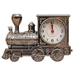 Wemet Novelty Alarm Clocks Retro Train Locomotive Alarm Clock Battery Operated Creative Student Kids Bells Vintage Antique Desktop Ornaments Gift (Vintage Black)