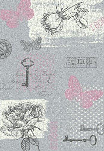 Sevilla Designer Designer Designer Teppich Klassik Grau Rosa Schmetterling in 5 Größen B01MZ4ETLS Teppiche f72332
