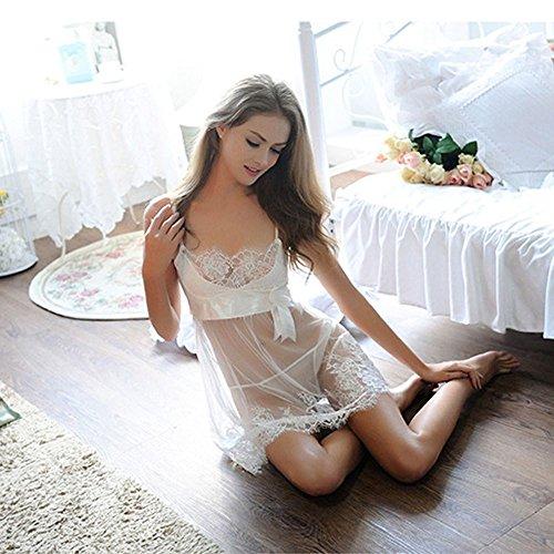 FUDUODUORopa Interior Transparente Linda Falda, Traje Pijamas Conjuntados Perspectiva,Xl XL