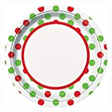 Red & Green Polka Dot Christmas Dinner Plates, 8ct