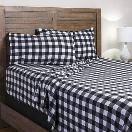 Amazon Com Mnsty Rustic Plaid Buffalo Check Flannel Bed Sheet Set In Black And White Queen Home Kitchen