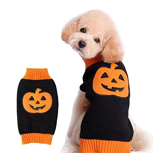 Xxs Puppy Halloween Costumes (NACOCO Dog Sweater Pumpkin Pet Sweaters Halloween Holiday Party for Cat and Puppy)