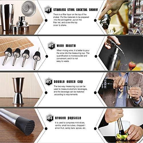 Basuwell Cocktail Shaker Set,12 Teiliges Professionelles Barkeeper Cocktail Mixer,Ideal für Zuhause oder die Bar, Männer und Frauen (750ML)