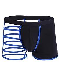 Iffee Men's Sexy Hollowed Straps One Side Mesh Boxer Briefs Underwear