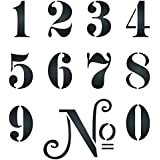 "1½"" French Numbers Stencil (S) - Reusable Vintage French Themed Word Wall Stencils for Painting - Use on Paper Projects Scrapbook Journal Walls Floors Fabric Furniture Glass Wood etc."