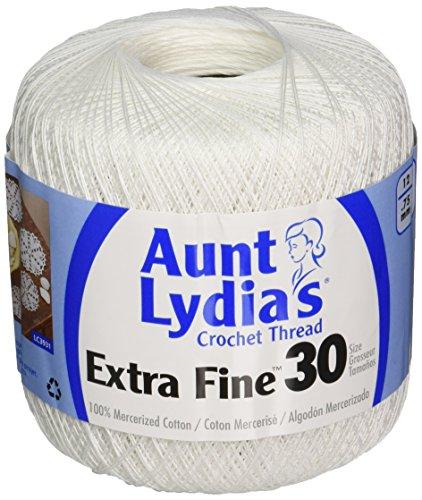 Coats Crochet Aunt Lydia's Crochet, Cotton Extra Fine Size 30, White Fine Crochet Thread
