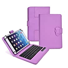 Tsmine Digiland Dl701Q 7 Inch Android 4.4 KitKat Tablet Wireless Bluetooth Keyboard Folio Premium Leather Case [2-in-1 Detachable, Built-in Stand, QWERTY Keyboard, Rechargeable, Universal], Purple