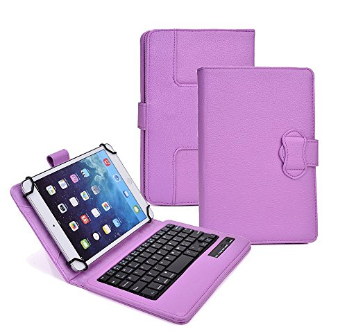 Tsmine Nuvision TM800A510L 8'' HD IPS Tablet Wireless Keyboard Case - Universal 2-in-1 Detachable Wireless keyboard [QWERTY] w/Folio Leather Case Stand Cover [NOT include Tablet], Purple by Tsmine